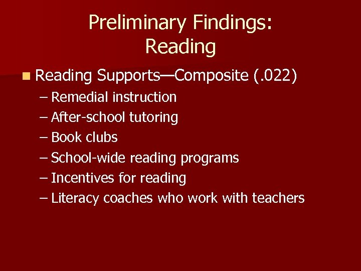 Preliminary Findings: Reading n Reading Supports—Composite (. 022) – Remedial instruction – After-school tutoring
