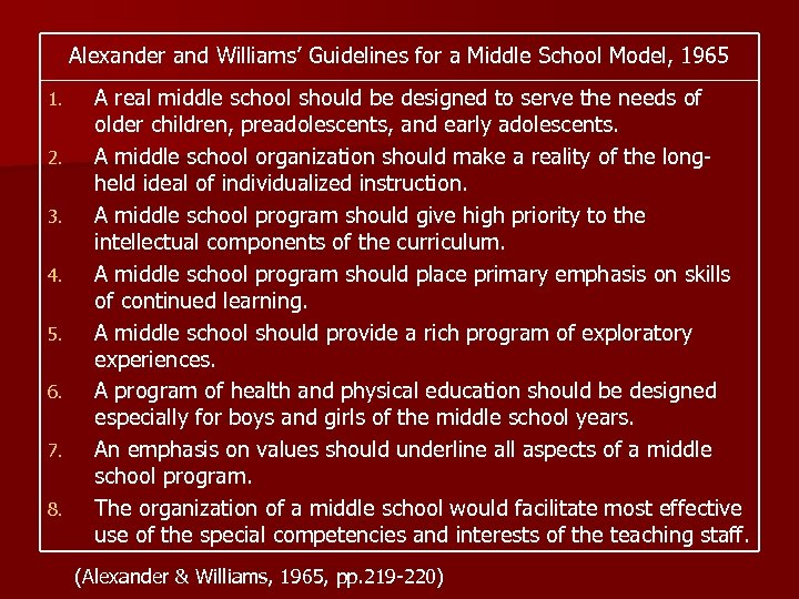 Alexander and Williams' Guidelines for a Middle School Model, 1965 1. 2. 3. 4.