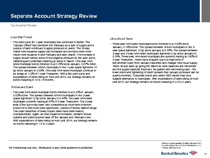 Separate Account Strategy Review Tax-Exempt Review Liquidity Focus § The yield curve for 1
