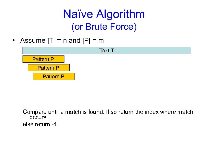 Naïve Algorithm (or Brute Force) • Assume |T| = n and |P| = m