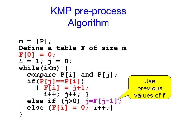 KMP pre-process Algorithm m =  P ; Define a table F of size m F[0]