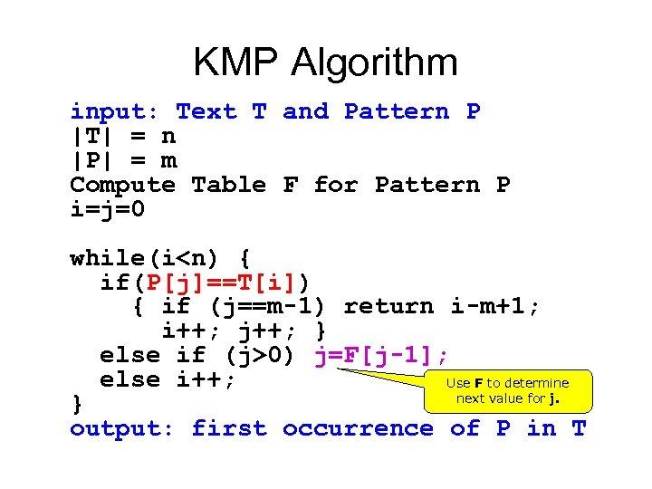 KMP Algorithm input: Text T and Pattern P  T  = n  P  = m