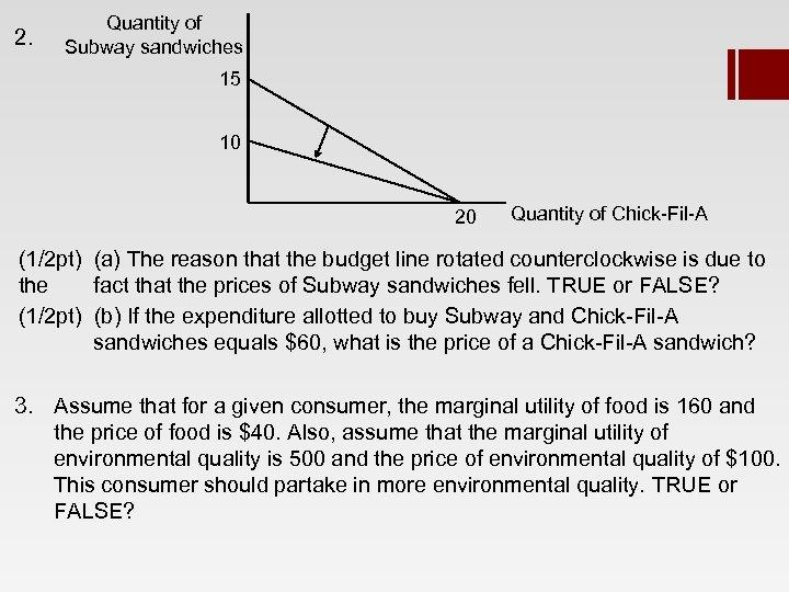 2. Quantity of Subway sandwiches 15 10 20 Quantity of Chick-Fil-A (1/2 pt) (a)