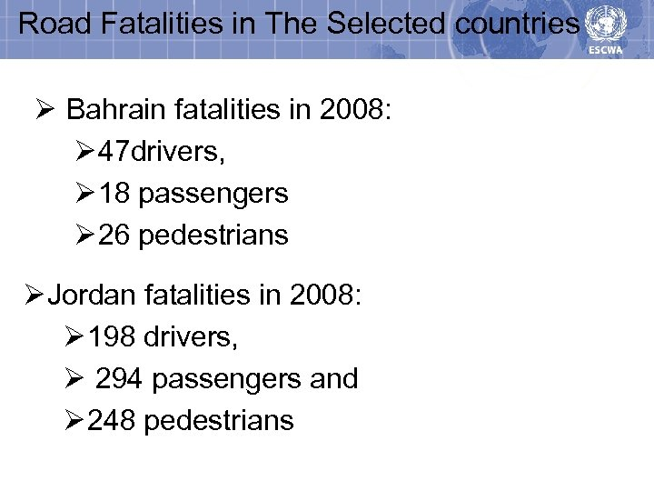 Road Fatalities in The Selected countries Ø Bahrain fatalities in 2008: Ø 47 drivers,