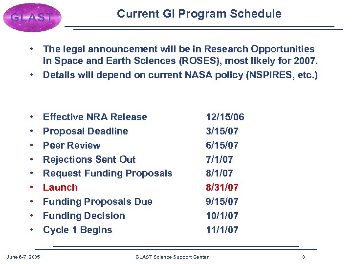 Current GI Program Schedule • The legal announcement will be in Research Opportunities in