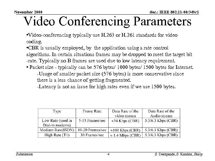 November 2000 doc. : IEEE 802. 11 -00/349 r 1 Video Conferencing Parameters •