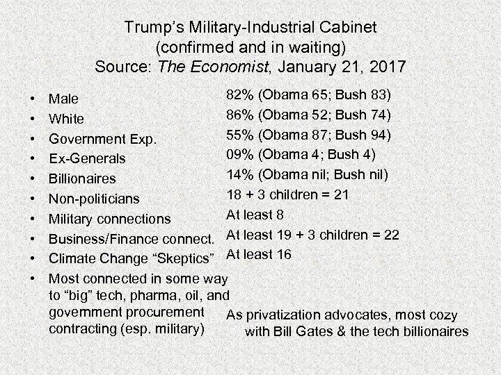 Trump's Military-Industrial Cabinet (confirmed and in waiting) Source: The Economist, January 21, 2017 •
