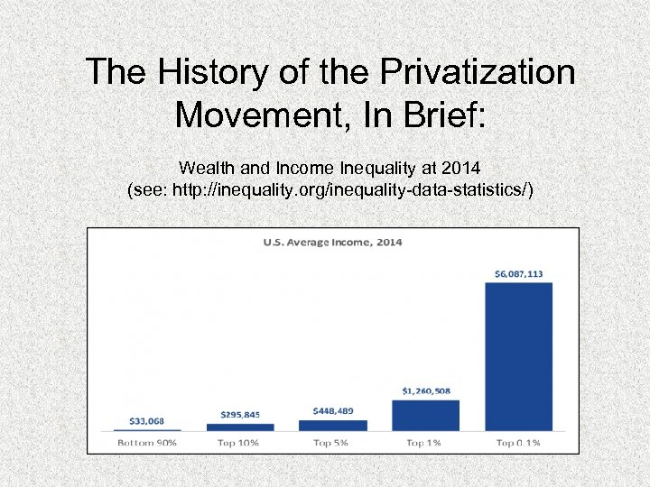 The History of the Privatization Movement, In Brief: Wealth and Income Inequality at 2014