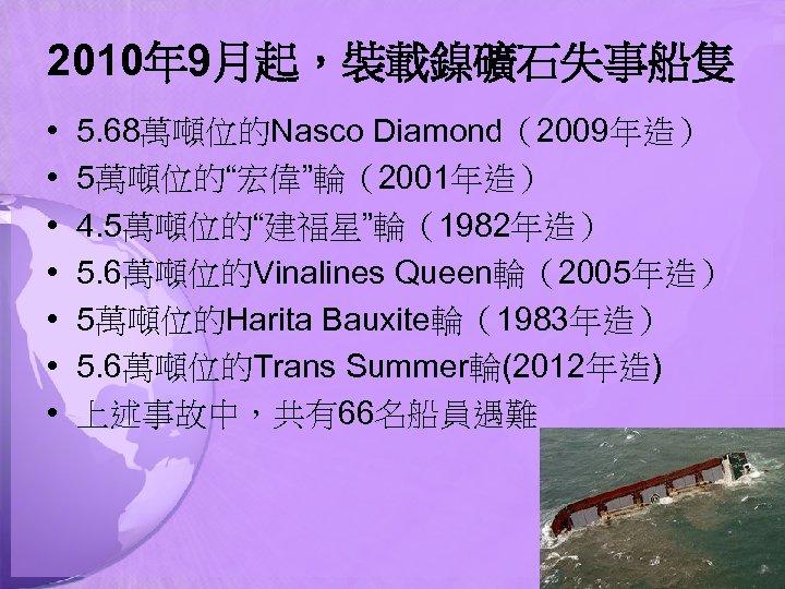 """2010年 9月起,裝載鎳礦石失事船隻 • • 5. 68萬噸位的Nasco Diamond(2009年造) 5萬噸位的""""宏偉""""輪(2001年造) 4. 5萬噸位的""""建福星""""輪(1982年造) 5. 6萬噸位的Vinalines Queen輪(2005年造) 5萬噸位的Harita"""