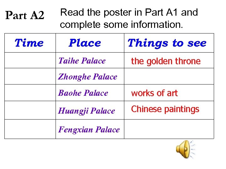 Part A 2 Time Read the poster in Part A 1 and complete some