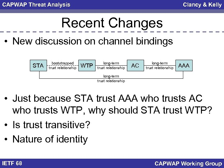 CAPWAP Threat Analysis Clancy & Kelly Recent Changes • New discussion on channel bindings