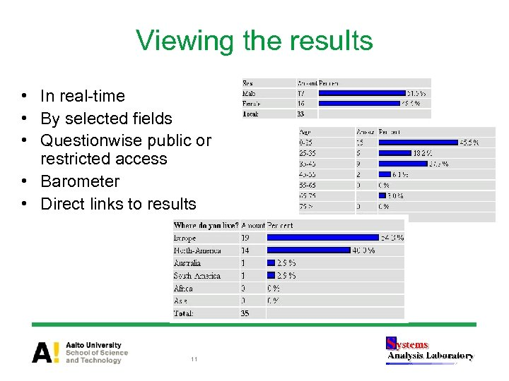 Viewing the results • In real-time • By selected fields • Questionwise public or