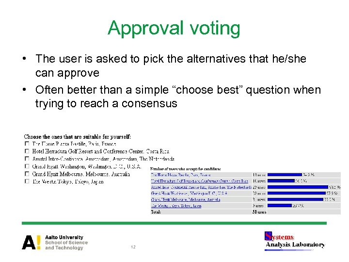 Approval voting • The user is asked to pick the alternatives that he/she can