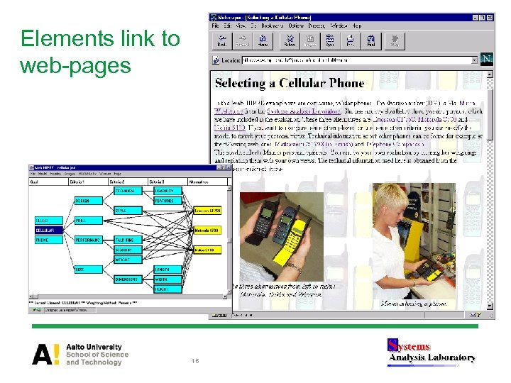 Elements link to web-pages 16