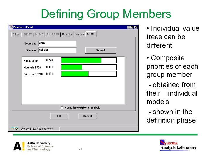 Defining Group Members • Individual value trees can be different • Composite priorities of