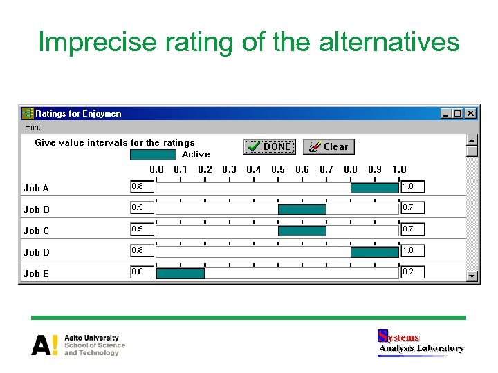 Imprecise rating of the alternatives