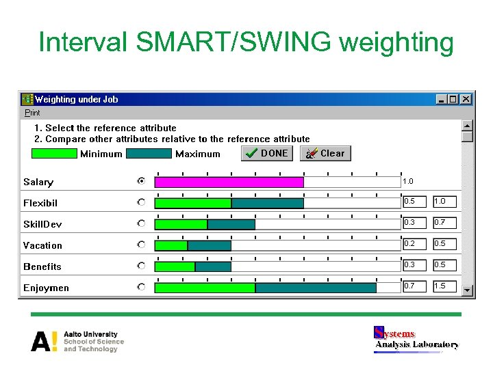 Interval SMART/SWING weighting