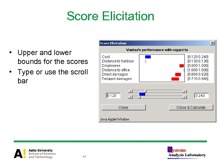 Score Elicitation • Upper and lower bounds for the scores • Type or use
