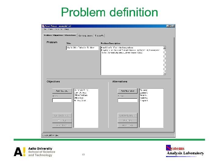 Problem definition 61