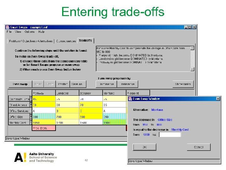 Entering trade-offs 62