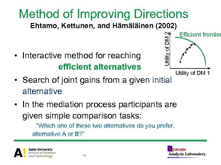 Method of Improving Directions Ehtamo, Kettunen, and Hämäläinen (2002) Utility of DM 2 •