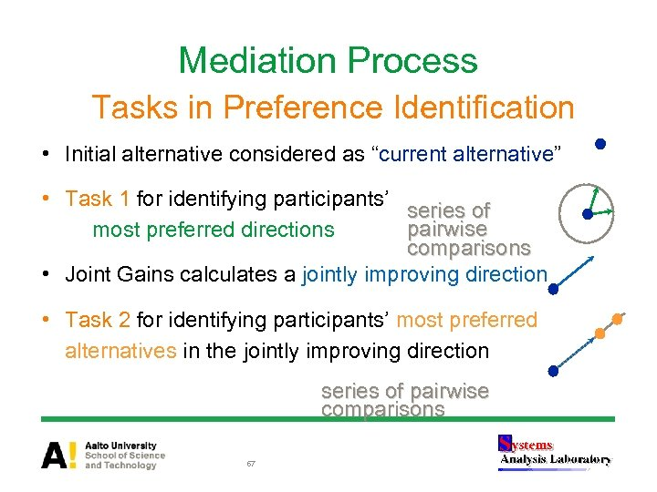 """Mediation Process Tasks in Preference Identification • Initial alternative considered as """"current alternative"""" •"""