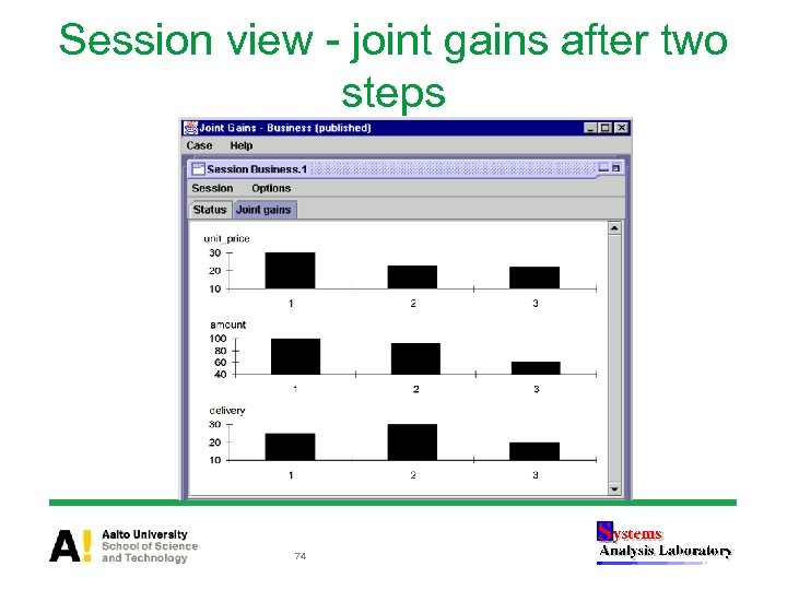 Session view - joint gains after two steps 74