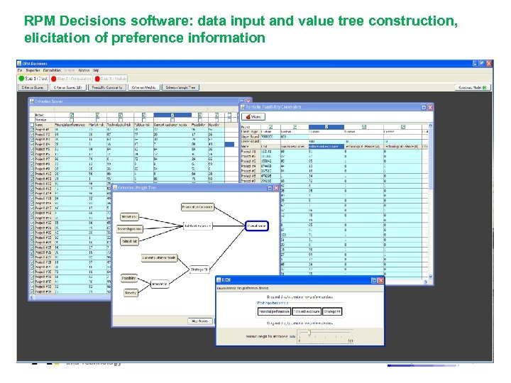 RPM Decisions software: data input and value tree construction, elicitation of preference information