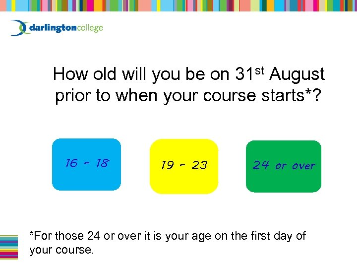 How old will you be on 31 st August prior to when your course
