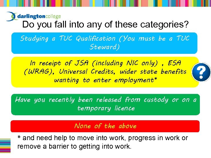 Do you fall into any of these categories? Studying a TUC Qualification (You must