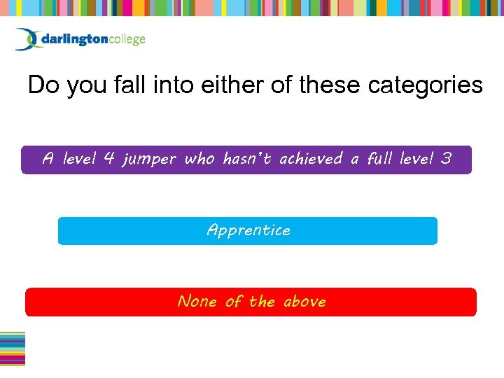 Do you fall into either of these categories A level 4 jumper who hasn't