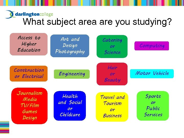 What subject area are you studying? Access to Higher Education Construction or Electrical Journalism