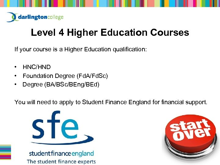 Level 4 Higher Education Courses If your course is a Higher Education qualification: •