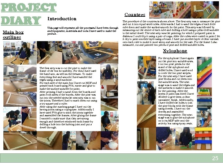 PROJECT DIARY Introduction Main box outlines This page will represent all the processes I