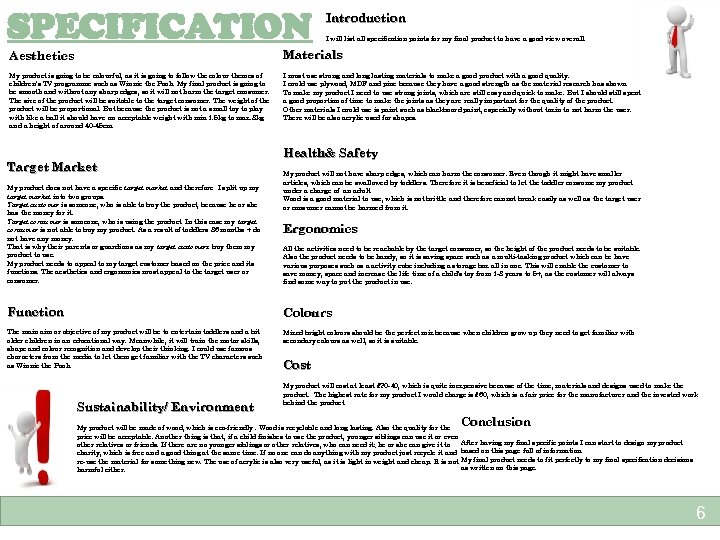 SPECIFICATION Introduction I will list all specification points for my final product to have