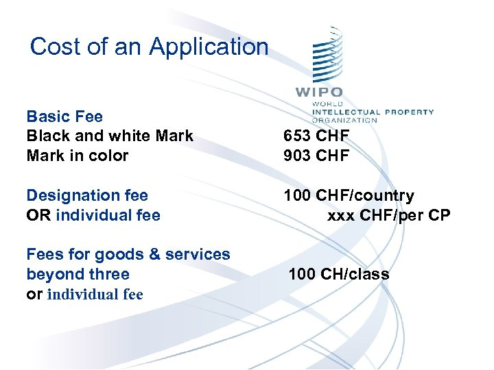 Cost of an Application Basic Fee Black and white Mark in color 653 CHF