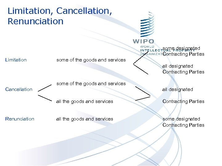 Limitation, Cancellation, Renunciation some designated Contracting Parties Limitation some of the goods and services