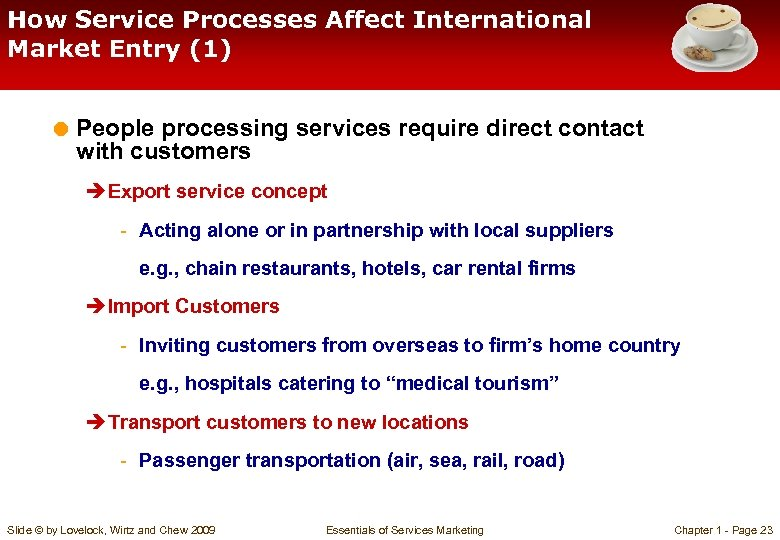 How Service Processes Affect International Market Entry (1) = People processing services require direct