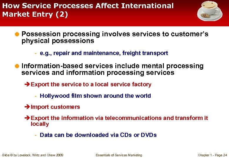How Service Processes Affect International Market Entry (2) = Possession processing involves services to