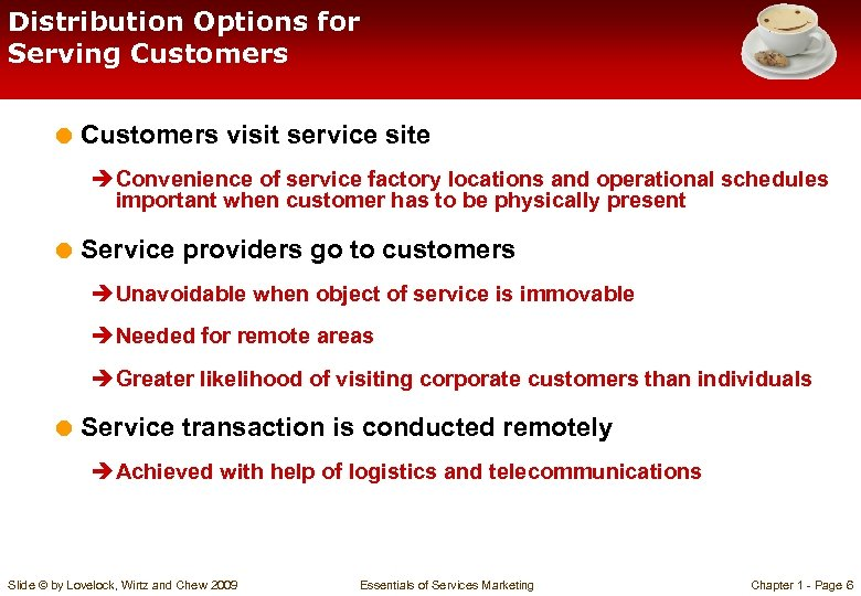 Distribution Options for Serving Customers = Customers visit service site è Convenience of service