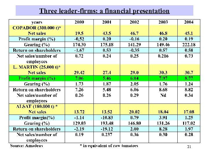 Three leader-firms: a financial presentation 21