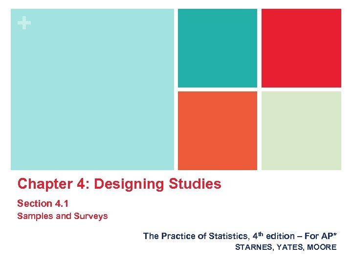 + Chapter 4: Designing Studies Section 4. 1 Samples and Surveys The Practice of