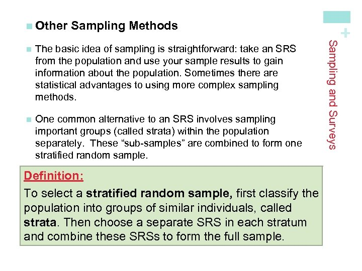 Sampling Methods The basic idea of sampling is straightforward: take an SRS from the