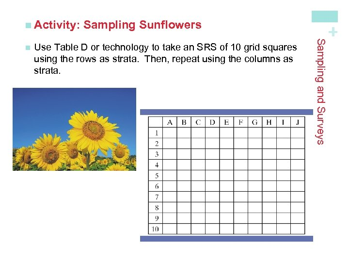 Use Table D or technology to take an SRS of 10 grid squares using