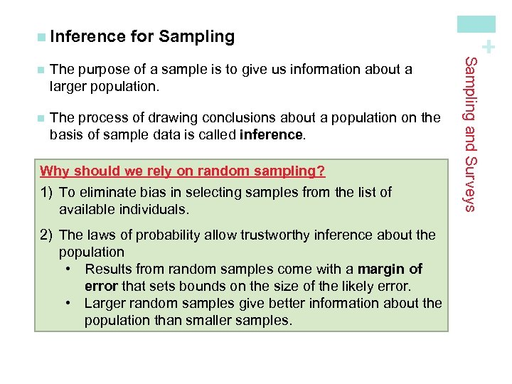 for Sampling The purpose of a sample is to give us information about a