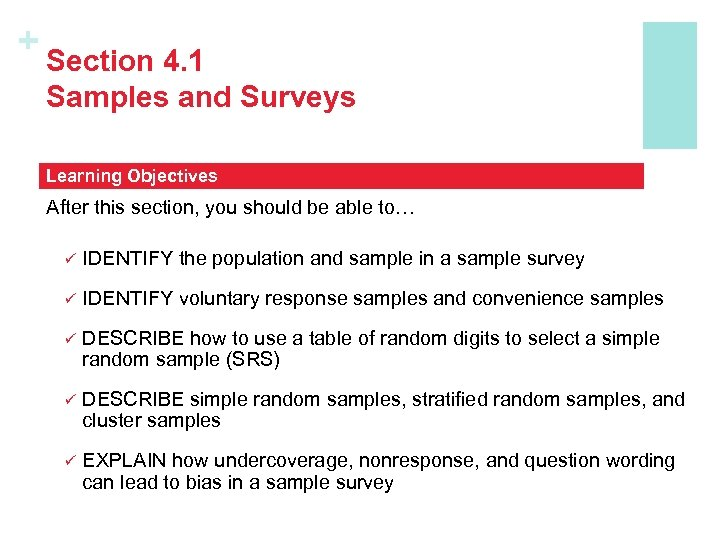 + Section 4. 1 Samples and Surveys Learning Objectives After this section, you should