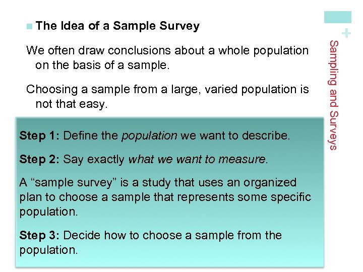 Idea of a Sample Survey Choosing a sample from a large, varied population is