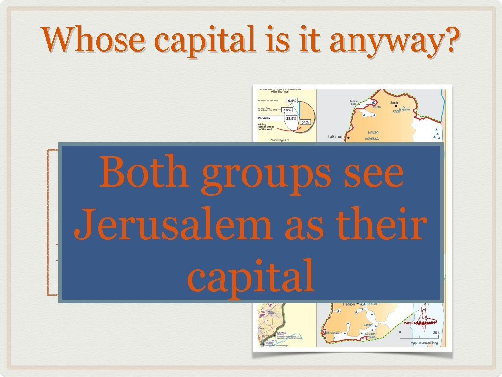 Whose capital is it anyway? Both groups see Jerusalem as their capital Jerusalem is