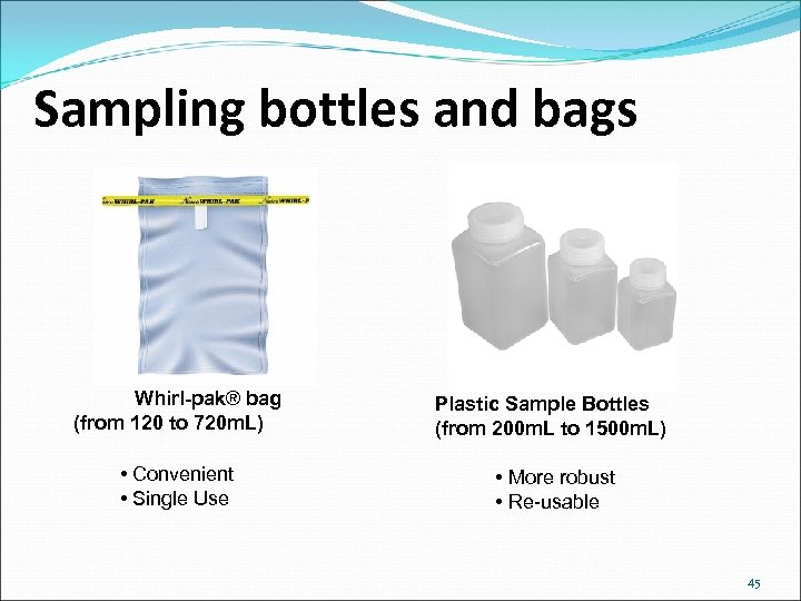 Sampling bottles and bags Whirl-pak® bag (from 120 to 720 m. L) Plastic Sample