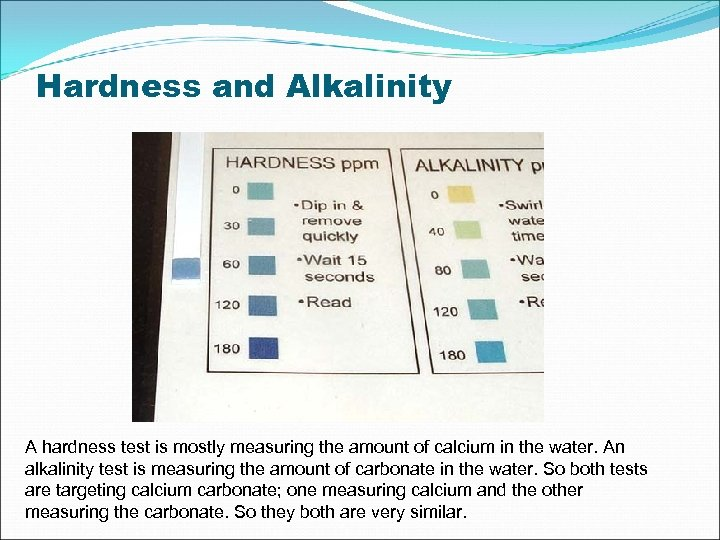 Hardness and Alkalinity A hardness test is mostly measuring the amount of calcium in